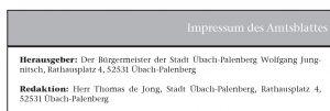 Amtsblatt Übach-Palenberg, Impressum