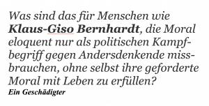 Klaus-Giso Bernhardt und seine Moral